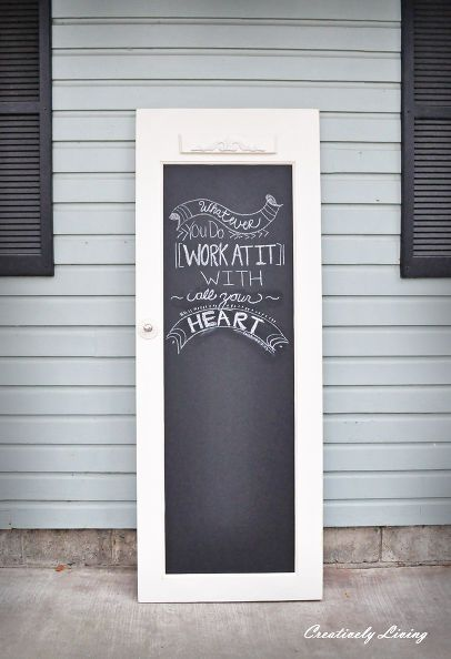 DIY upcycle an old door to chalkboard door with chalkboard paint - this would be a great way to display a menu for a party or wedding reception.