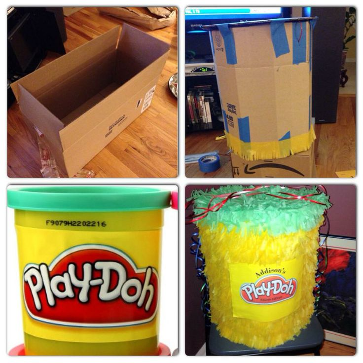 """My latest creation - Play Doh piñata! Use 1 rectangular large box from bed bath & beyond to make a round box (I made my own round box template but you can google """"round box template"""" to mimic the design, 3 colorful tissue paper (use step 4 from Martha Stewart's link to cut/paste the fringe http://www.marthastewart.com/271560/making-a-pinata), use your old blue painter's tape to seal the box and you will get a pinata that cost less than $5!"""