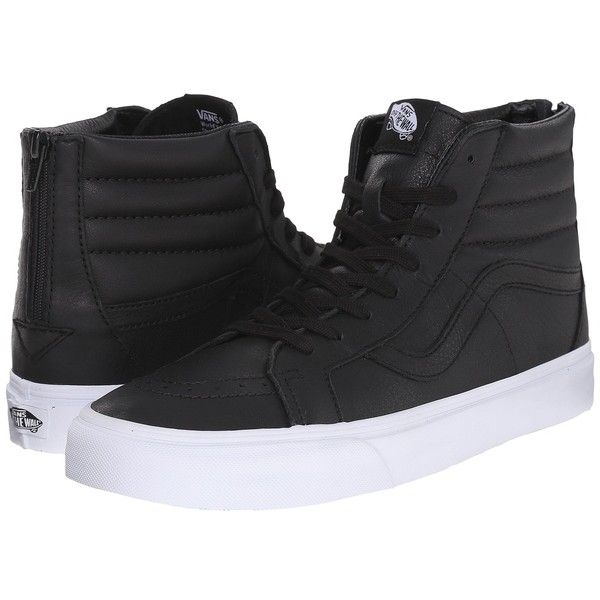 Vans SK8-Hi Reissue Zip ((Premium Leather) Black/True White) Lace up... ($80) ❤ liked on Polyvore featuring shoes, sneakers, black trainers, white sneakers, zipper sneakers, white shoes and black shoes