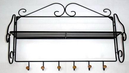 Porte manteaux mural d'entrée rustique en fer forgé noir avec tablette et 6 têtes en bois clair, VESTIAIRE | Porte manteau patère