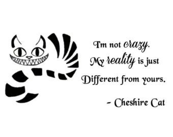 "Cat Cheshire Wall Quotes | Cheshire Cat quote-I'm Not Craz y- Wall Decal- (24"" X 11"") ..."