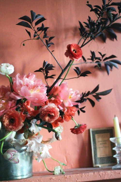 : Pink Flower, Spring Flower, Wall Color, Flower Arrangements, Bouquets, Pink Wall, Floral Arrangements, Paintings Color, Colour Schemes