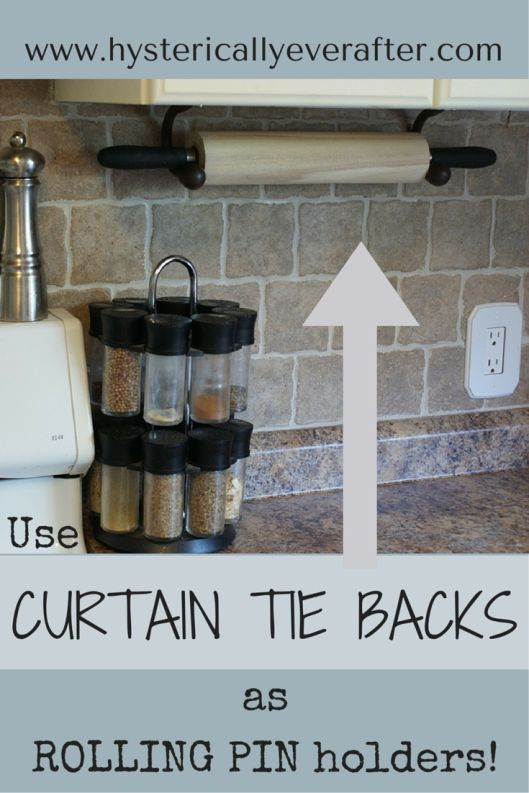 DIY - curtain tie backs as rolling pin holder!  Inexpensive and easy solution. www.hystericallyeverafter.com