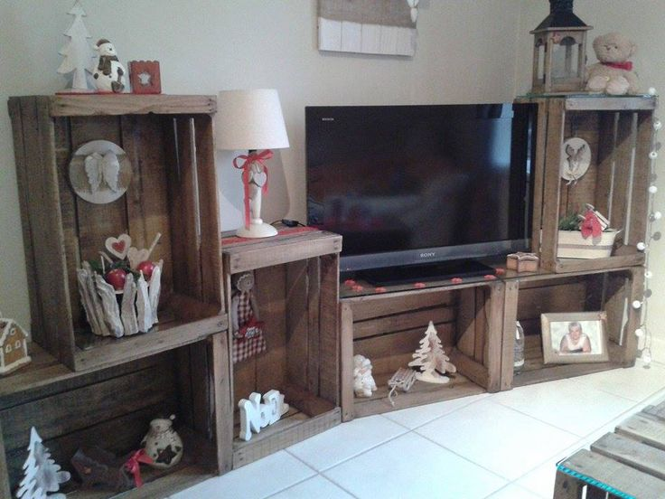 caisse crate apple collection bois etagere mobilier diy meuble tv wood projects. Black Bedroom Furniture Sets. Home Design Ideas