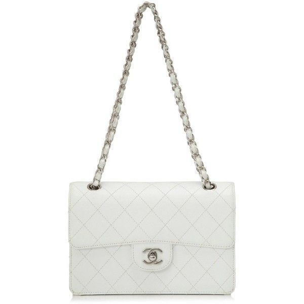 Pre-owned Chanel Caviar Leather Shoulder Bag (£1,595) ❤ liked on Polyvore featuring bags, handbags, shoulder bags, white, leather shoulder bag, chanel shoulder bag, genuine leather purse, white purse and shoulder strap bags
