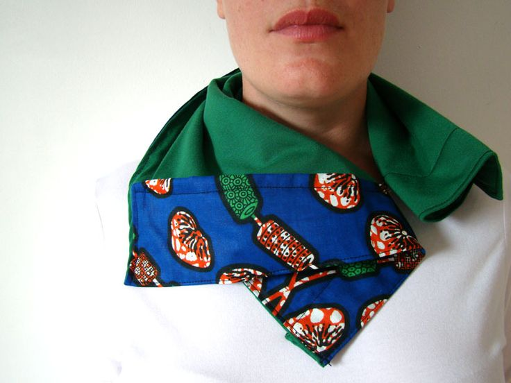 Wax block printed fabric teamed with green  T-shirt material