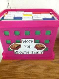 "Love this! File crate with each student's name on it. File work for them to do when they are ""done"" that is differentiated. you can also put work in there that they need extra practice with. I'm thinking big YES!! :)"