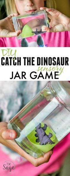 DIY Craft: Dinosaur Preschool Crafts help engage imaginations and keep kids busy. This DIY Catch The Dinosaur Sensory Jar Game is easy to make and is super fun! <a class=