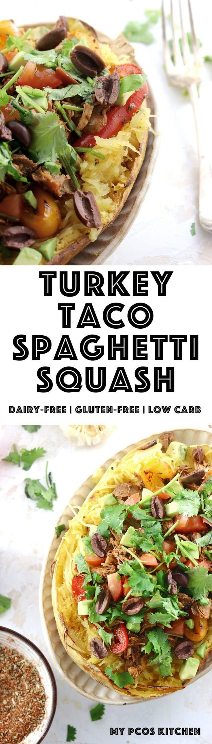 My PCOS Kitchen - Paleo Turkey Taco Spaghetti Squash - A great gluten-free and dairy-free dinner filled with leftover turkey from Thanksgiving cooked in taco spice. #glutenfree #paleo #lowcarb #taco via @mypcoskitchen