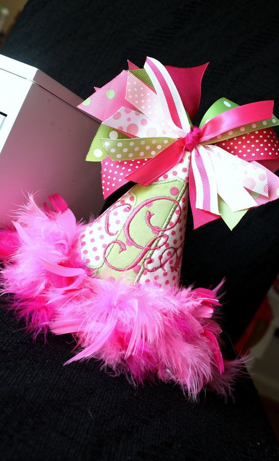 Birthday Party Hat in Hot Pink and Green with Feathers, Ribbon