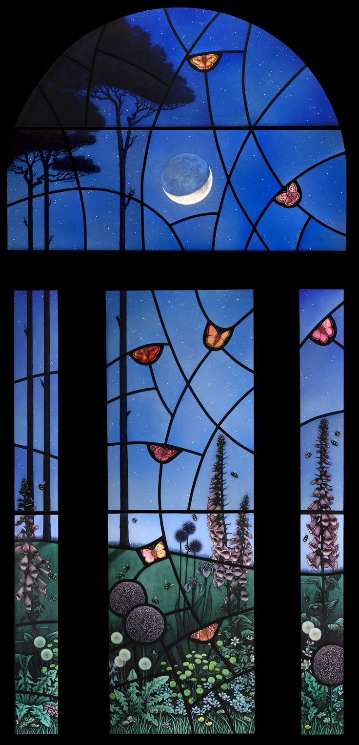 """Night Garden"" stained glass panel by Brian James Waugh, Glasgow, Scotland"