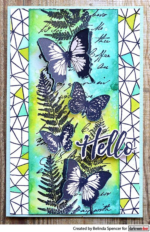 Card by Belinda Spencer using Butterfly Garden Border Stamp and Abstract Triangles Background Stamp