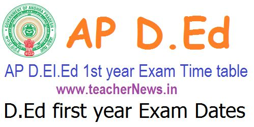 AP D.Ed 1st year Exam Dates/ Time table, Hall tickets