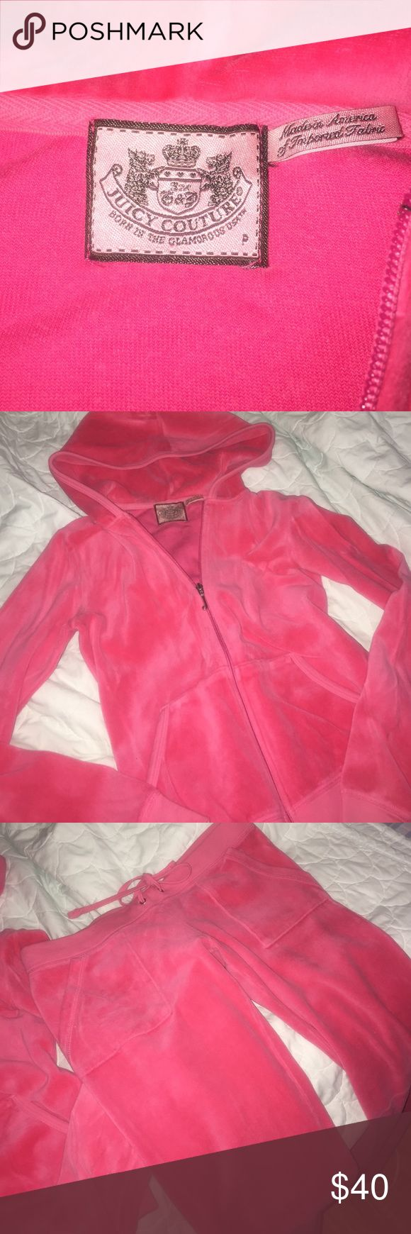 Juicy Couture- Hot Pink, Velour, 2pc Tracksuit Juicy Couture- 2piece tracksuit. Hoodie zip up and matching pants. Hot Pink Velour. So comfy and sexy too! Made in USA. Offers welcome! Juicy Couture Other