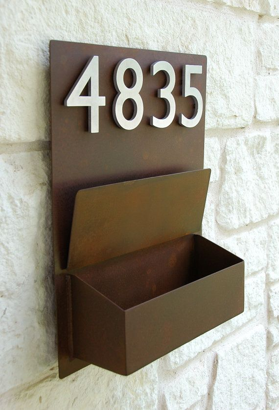 27 best Exterior images on Pinterest   Exterior homes  House     Rustic Modern Mailbox with 4 Brushed Aluminum by UrbanMettle
