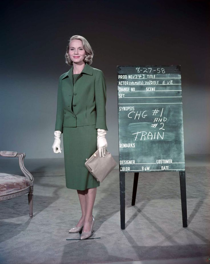 Eva Marie Saint, in a color wardrobe reference photo for NORTH BY NORTHWEST (August 27, 1958)