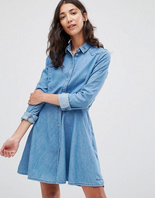 Pepe Jeans | Pepe Jeans Silvy Denim Shirt Dress at Asos