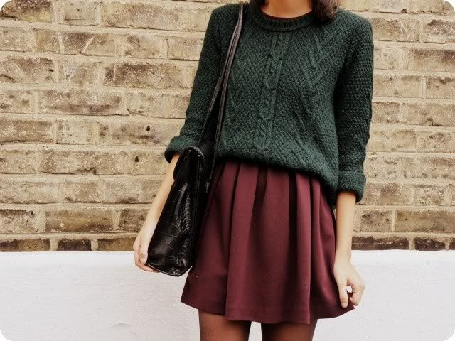 I love this skirt and sweater combination, and I'm drawn to these colors. Pleated skirts are my favorite, but I tend to like my skirts and dresses to come closer to the knee; maybe I could wear this with tights when it gets colder.
