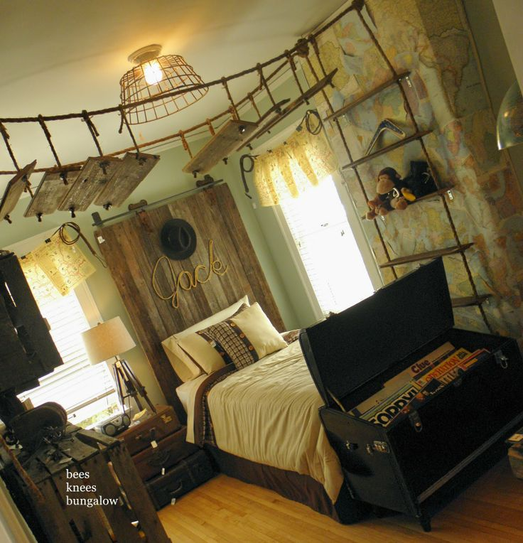 Boy's Adventurer Bedroom - love it!Awesome Boys, Boys Bedrooms, Kids Room, Kidsroom, Kid Rooms, Boy Rooms, Room Ideas, Little Boys Rooms, Bridges