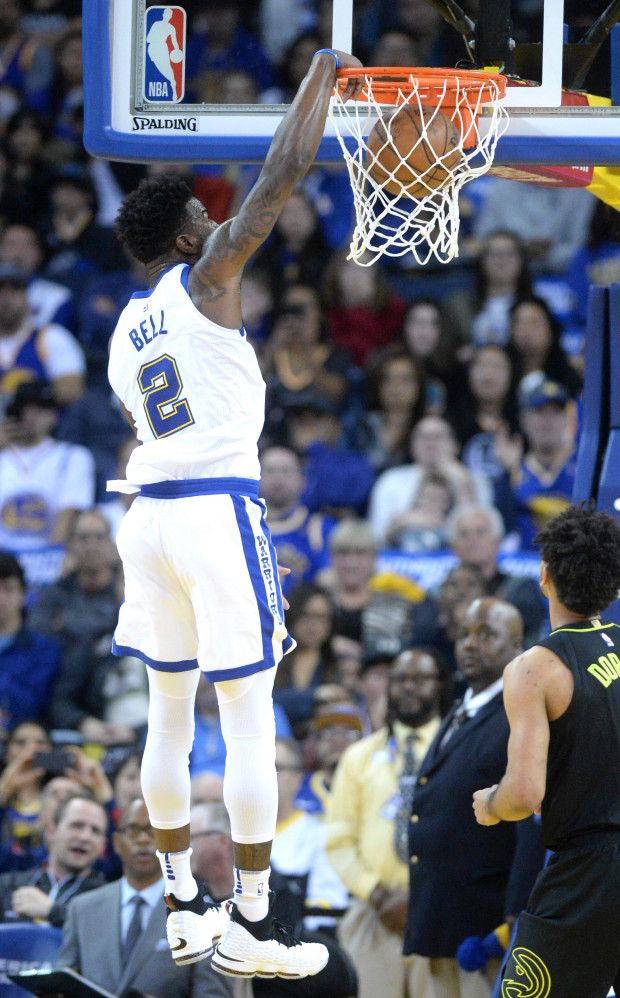 db5eb82cb49e Golden State Warriors  Jordan Bell (2) dunks the ball in the second period  of their NBA game against the Atlanta Hawks at Oracle Arena in Oakland