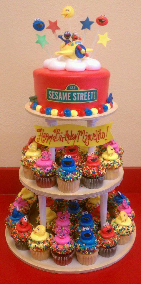 sesame street cake and cupcakes: