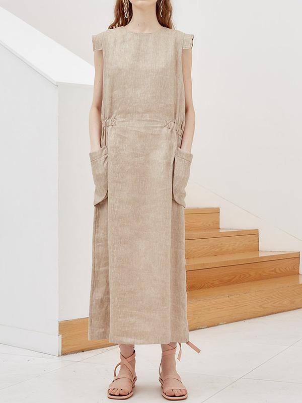 Simple Ramie Cotton With Pockets Linen Dress Uoozee Maxi Kleider Sommer Maxi Kleider Kleider