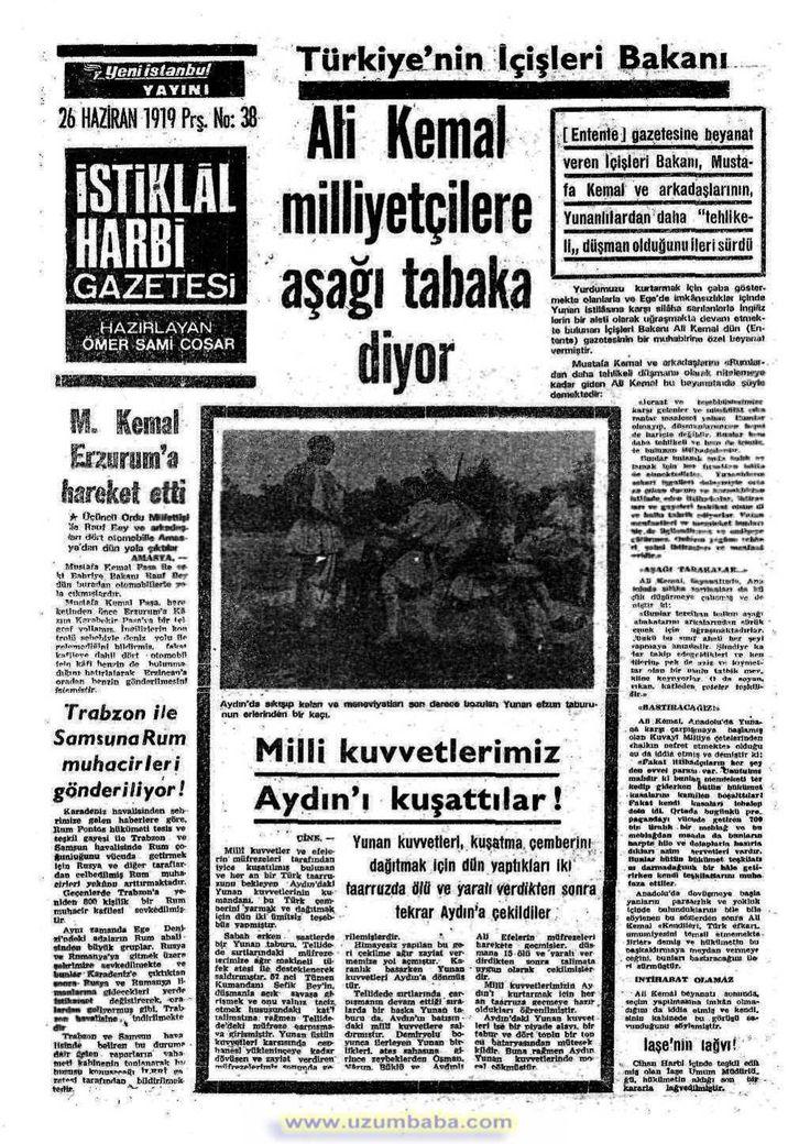 istiklal harbi gazetesi 26 haziran 1919