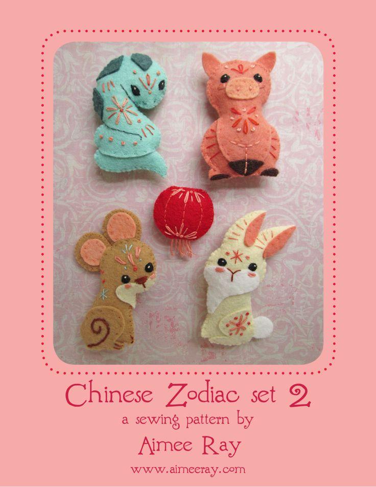 Sew your own Mini felt Chinese Zodiac Animals plush PDF pattern SET 2 by littledear on Etsy