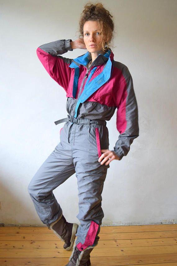 3f333efdc54 Grey vintage snowsuit, Vintage ski jumpsuit, One piece ski suit ...