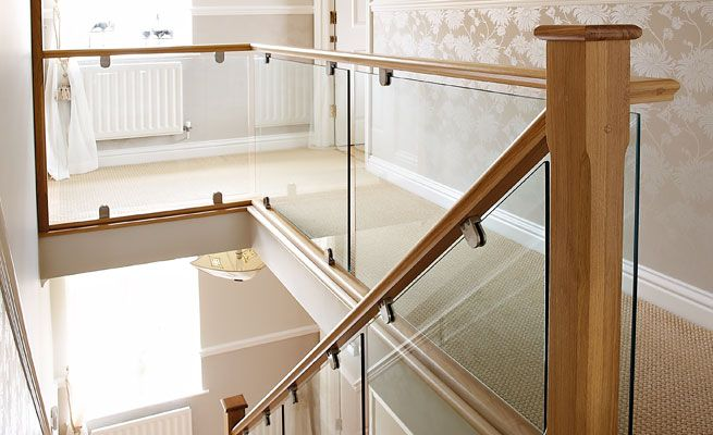 Remove / replace with glass for transitional look  Neville Johnson - Oak and Glass Staircase and Gallery