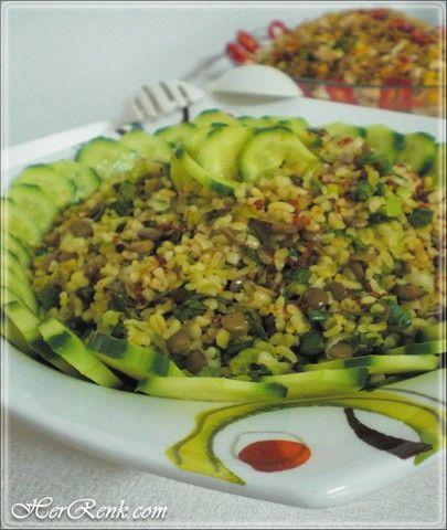 Bulgurlu – Yeşil Mercimekli Salata-Bulgurlu – Yeşil Mercimekli Salata, yeşil mercimekli bulgur salatası, bulgurlu yeşil mercimek salatası, bulgur, mercimek, salata, yeşil mercimek,