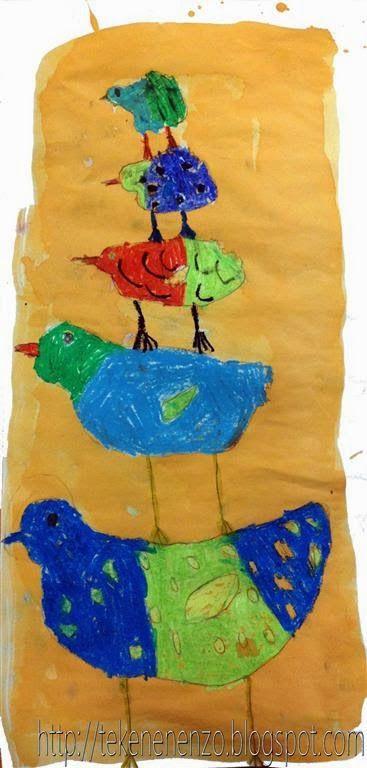 Tekenen en zo: Gestapelde vogels
