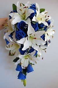 Teardrop Wedding Bouquet Ivory Lillies Royal Blue Roses Pearl Sprays | eBay