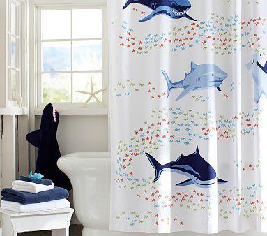 Shark Shower Curtain #PotteryBarnKids. Redo boys bathroom :)