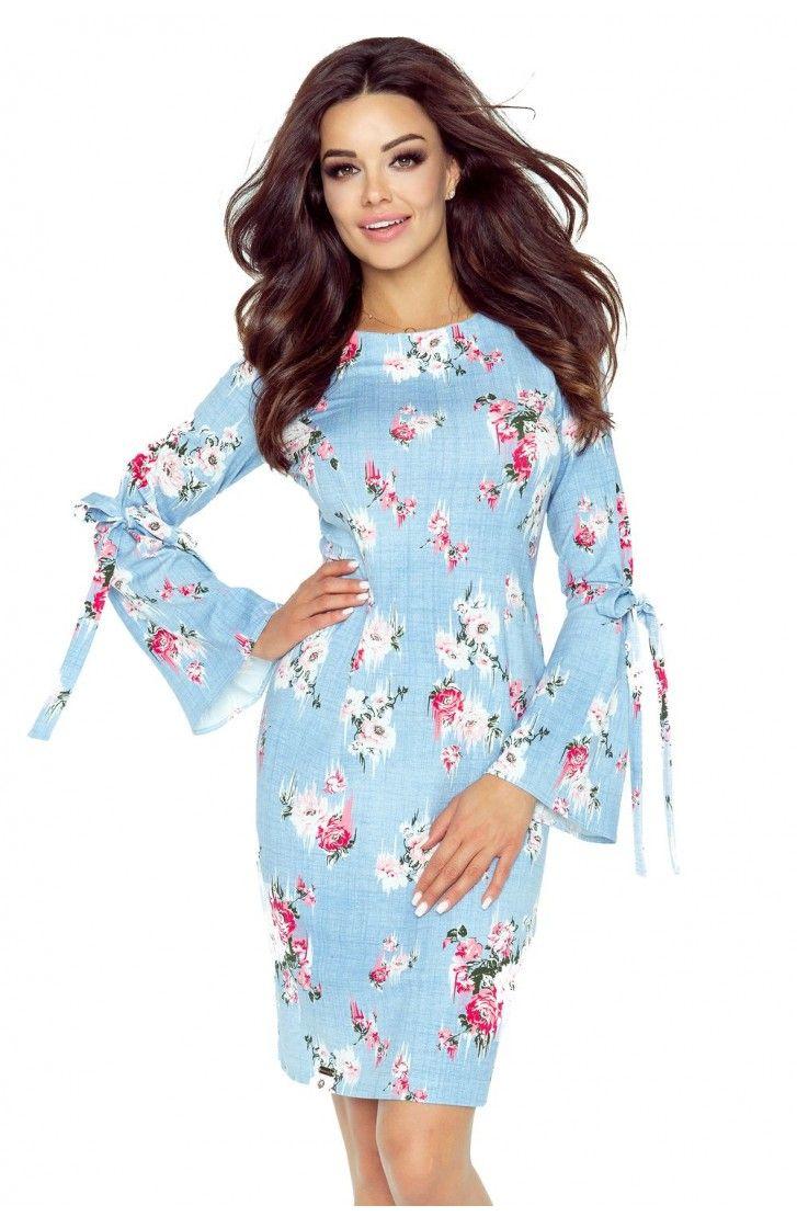 Sukienka z Kokardką na Rękawach Błękitna w Róże BE70-02
