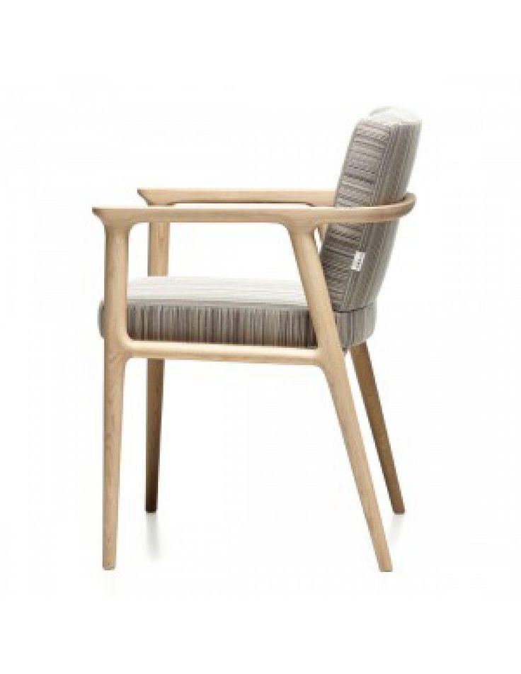 Moooi Zio design stoel hout stof Marcel Wanders zijaanzicht