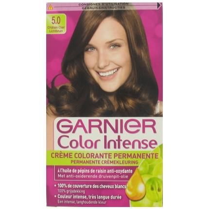 Garnier Color Intense Haarverf nr 5.0 Lichtbruin  Description: Garnier Color Intense Haarverf nr. 5.0 Lichtbruin Is je kleur dof geworden of heb je je eerste grijze haren ontdekt? Dit zijn tekens dat je haarkleur een boost kan gebruiken. Garnier heeft de perfecte oplossing: Ervaar nu de intense stralende kleuren van de nieuwe permanente haarkleuring Color Intense. Color Intense geeft een langhoudend kleurresultaat met mooie glans. De 10 prachtige kleuren zijn 100% grijs dekkend en je haar…