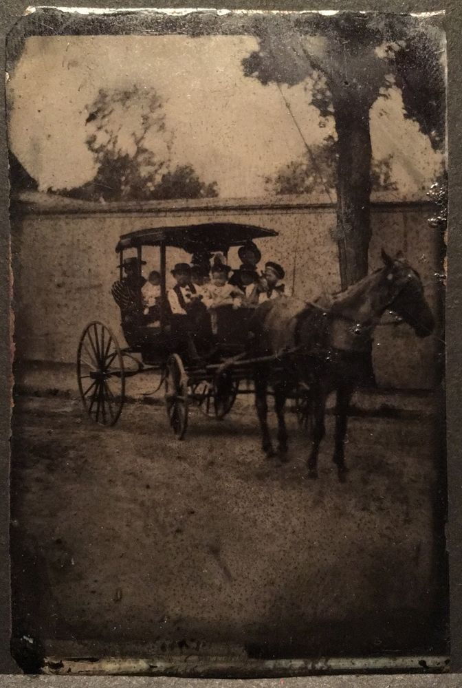 1890's Antique Tintype Photograph Men Women Children Victorian Horse Carriage   | eBay