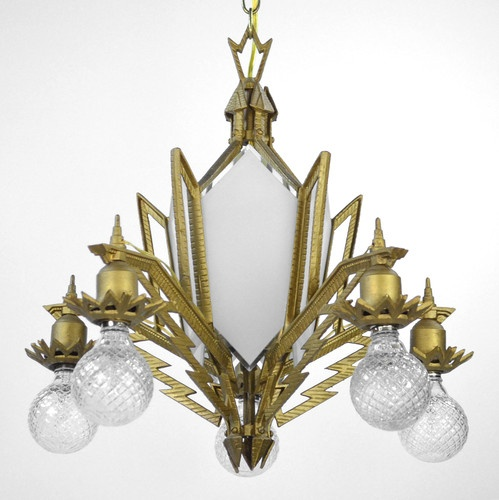 Antique Art Deco Chandelier Early Electric Restored Gold White Glass Gold  Ornate | eBay $899.00 - 37 Best Art Deco Chandeliers AntiqueLighting.com Images On Pinterest