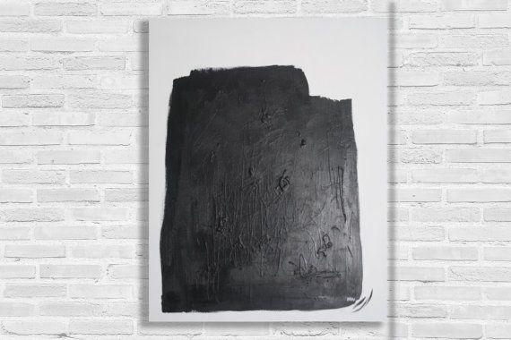 Pintura minimalista XL / blanco y negro abstracto arte moderna