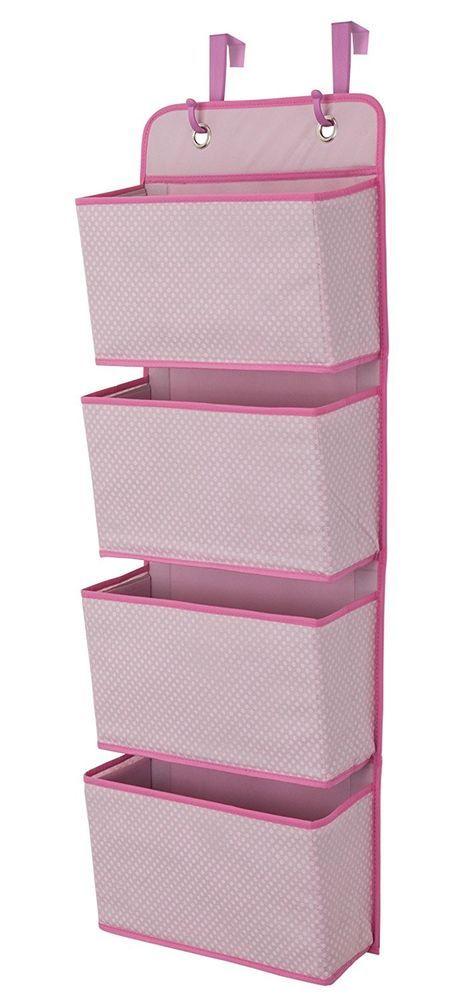 4 Pocket Hanging Wall Organizer Girls Pink Bedroom Toys Underwear Socks Storage  #Delta