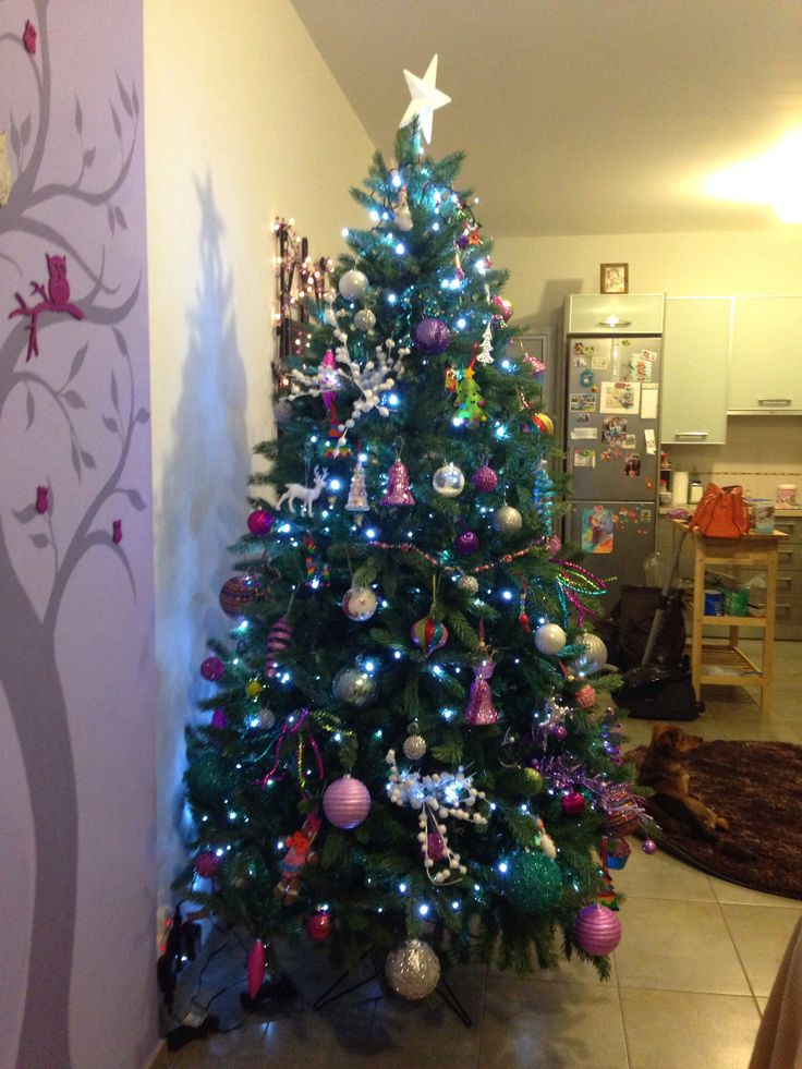My first christmas tree purple pink blue white and silver - Pink and blue christmas tree ...