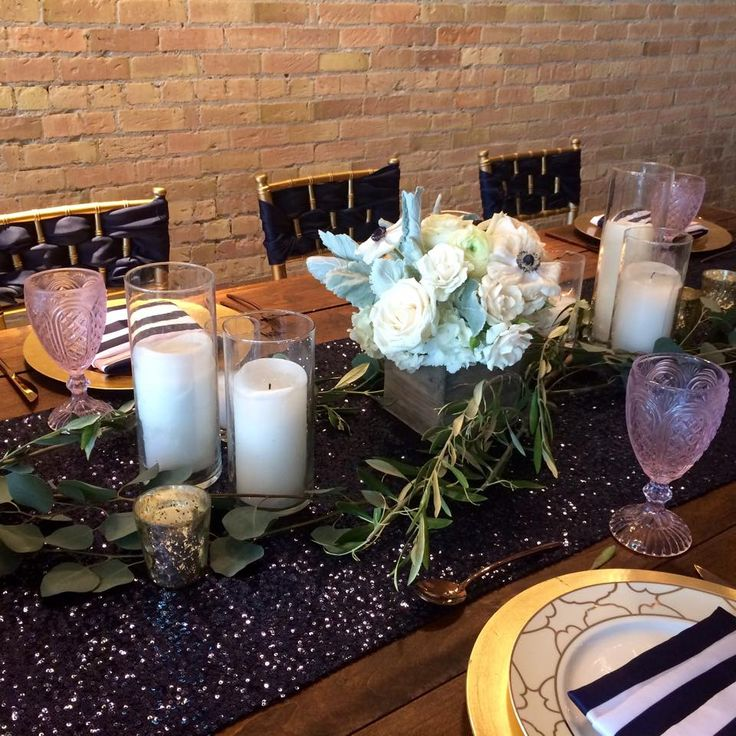 We love everything about this! The Sequin, the nautical Navy Stripe napkins & the touches of gold <3