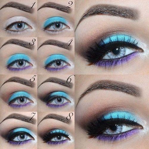 Combination of Sky Blue and Purple Makeup with Uniqueness #EyeMakeup #PurpleMakeup #EyeMakeupTutorial #MakeupTutorial #FashionCity