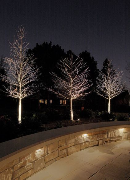 Lights in stone retaining wall
