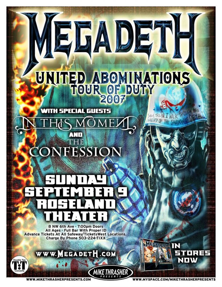 Music Posters - Posters Rock/Pop Gig G-P - MEGADETH 2007 Gig POSTER Portland Oregon United Abominations Tour Concert
