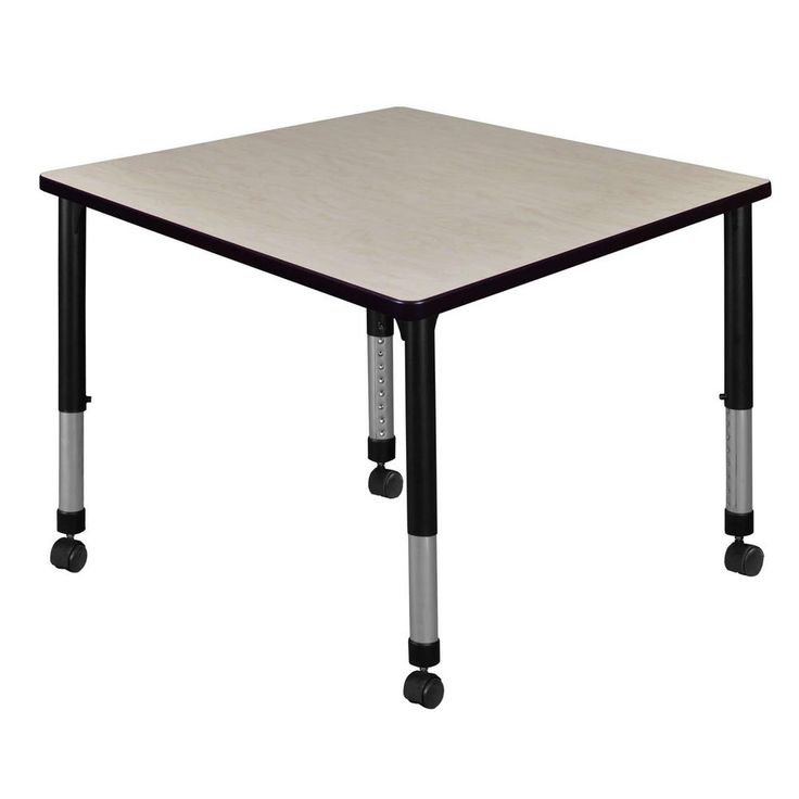 Regency Rumel 42 In Square Height Adjustable Mobile Classroom Table Maple Brown Classroom Tables Laminate Table Top Training Tables