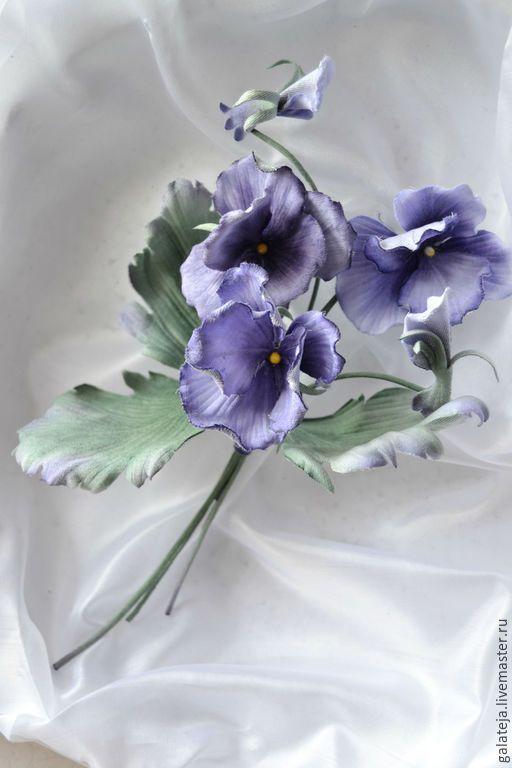 Купить Цветы ручной работы фиалки Монмартр. - бледно-сиреневый, анютины глазки