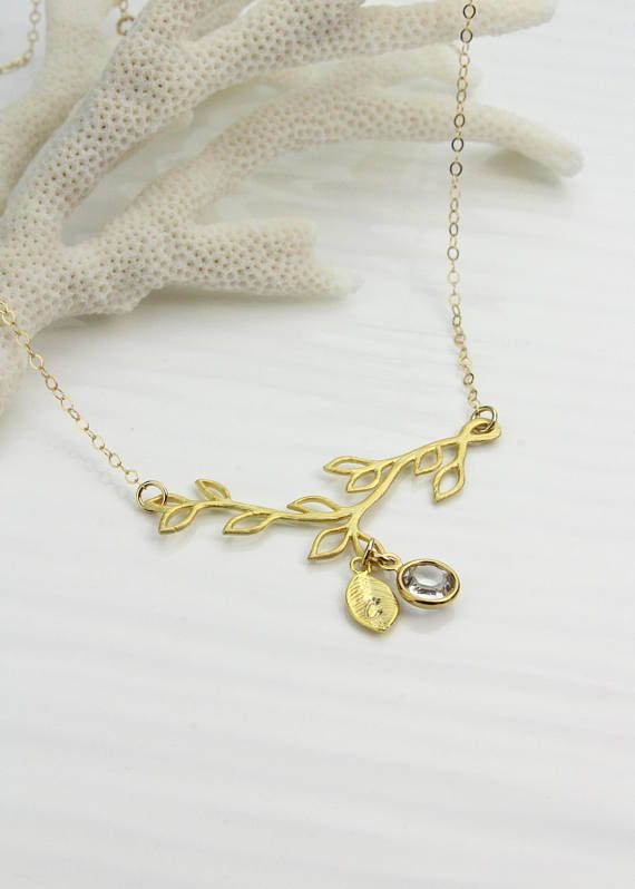 Custom Birthstone Family Tree Necklace, Gold Branch Charm, Birthday Gift for Mothers and Grandmothers, *U. S. orders ship Via USPS