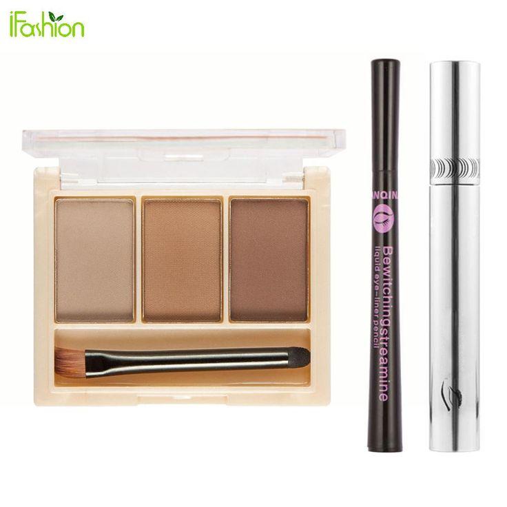 3 Colors Eyebrow Powder Eyeshadow Palette Black Fiber Mascara Long Curling Eyelashes Eyeliner Pen Eye lashes Enhancer